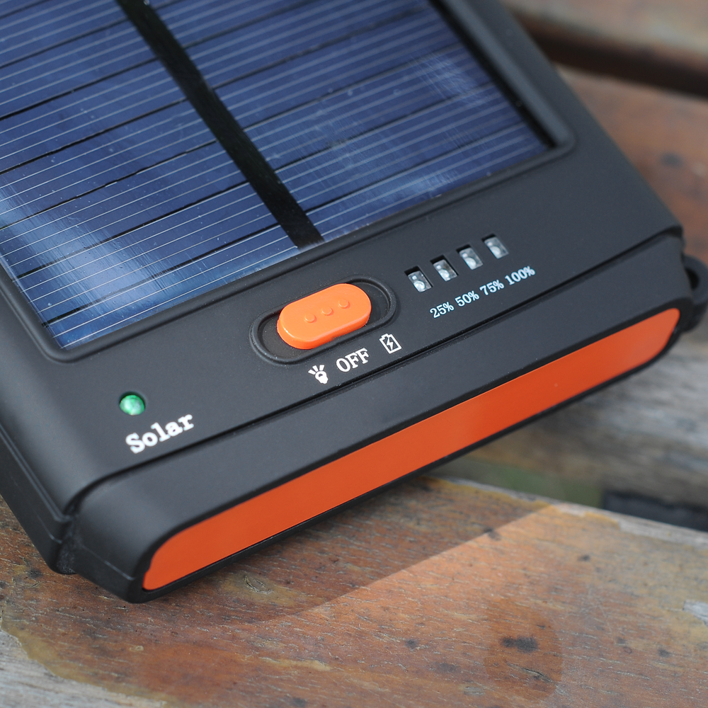 2-in-1 Solar Charger + Flashlight - 11200mAh, 4 x Phone Connecto